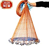 Fishing Cast Net - Freshwater/Saltwater Casting Nets with Aluminum Frisbee for Bait Trap Fish - American Monofilament Thread Throwing Net - Easy Throw Hand Cast Net, 8ft/10ft/12ft Radius (12FT)