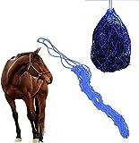 Atyhao Sacchetto di Alimentazione per Cavalli Rete per Fieno, Balla Piena Rete per Fieno ad Alimentazione lenta Dimensioni Medie Resistente Corda in Nylon Borsa per Rete per foraggio(Blu)