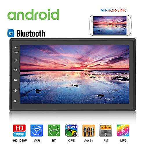 Android Double Din Car Radio with Bluetooth GPS Navigation WiFi 7' LCD Touch Screen Head Unit Support iOS Android Phones Mirror Link/Dual USB/FM/Backup Camera Input (Black)