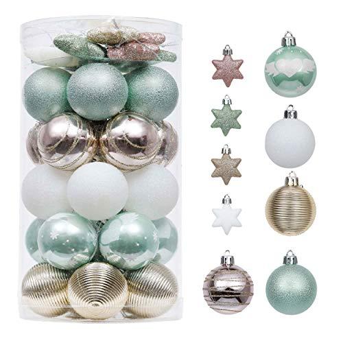 Valery Madelyn Weihnachtskugeln 35 Stücke 5CM Plastik Christbaumkugeln Weihnachtsdeko mit Stern Aufhänger Weihnachtsbaumschmuck Eleganter Palast Thema Mintgrün Rosa Gold