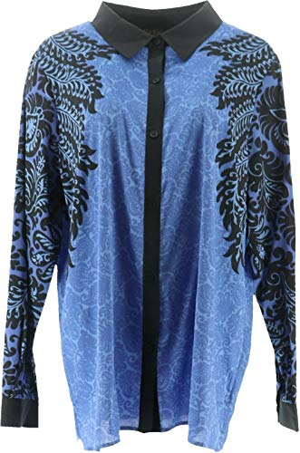 Bob Mackie Printed Long SLV Button Front Top Periwinkle Mult XL New A283741