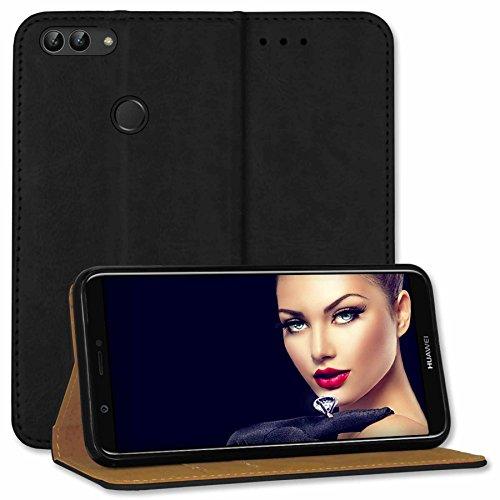 mtb more energy® Leder-Tasche Bookstyle für Huawei P smart/Enjoy 7S (5.65'') - schwarz - Echtleder - Schutz-Hülle Wallet Folio Cover Hülle
