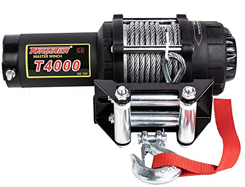 Tungsten4x4 T4000 1.9 HP ATV/UTV Electric Utility Cable Winch with Roll Fairlead, 4000 lbs Capacity