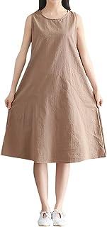 Vimoli Kleider Damen beiläufige Baumwolle Leinen A-Linie Weste Kleid Rundhals ärmellose lose einfarbig Kleid