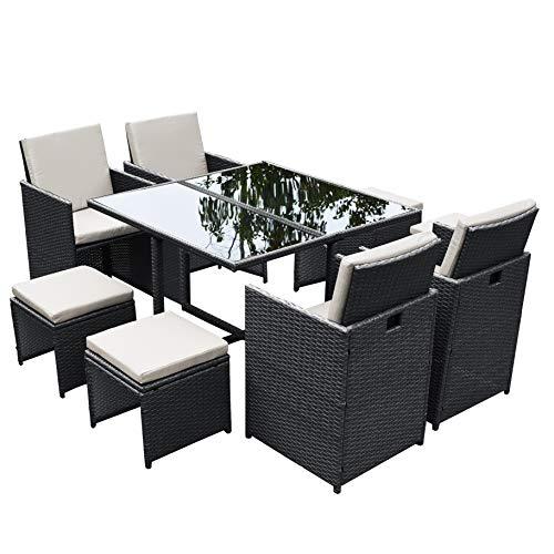 Ribelli 9-teiliges Gartenmöbel Set, Lounge Set, cremefarbenen Kissen – aus PE-Rattan – Tisch Plus Vier Stühle und 4 Fußhocker – praktisch zu verstauen (9tlg. schwarz/Cream)