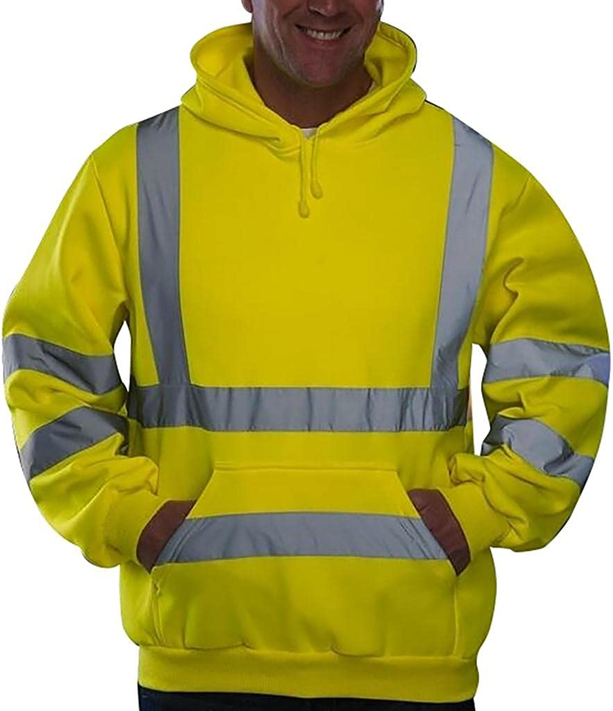 Mens Hooded Sweatershirts Novelty Road Work High Visibility Pullover Tops Hippie Striped Reflection Hoodies Blouse