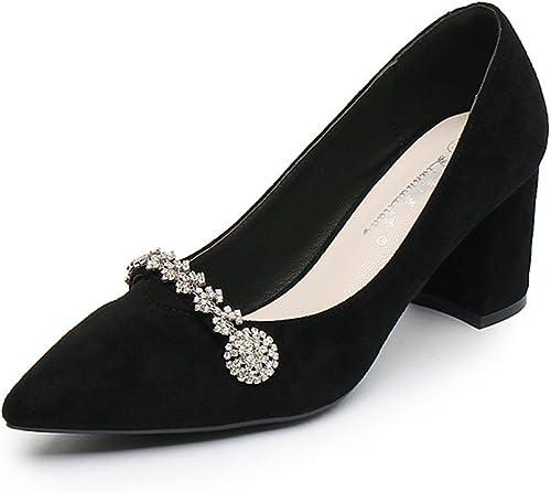 JITIAN Escarpins Talons Hauts Carrés Chaussure Brillant Fleurs Fleurs Strass Pumps Bout Pointu Femme Escarpin Noir 36  juste l'acheter