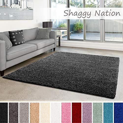 Shaggy-Teppich | Flauschiger Hochflor für Wohnzimmer, Schlafzimmer, Kinderzimmer oder Flur Läufer | einfarbig, schadstoffgeprüft, allergikergeeignet | Dunkelgrau - 240 x 340 cm