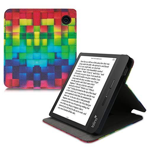 kwmobile Schutzhülle kompatibel mit Tolino Vision 5 - Hülle e-Reader mit Schlaufe Ständer - - Regenbogen Würfel Mehrfarbig Grün Blau