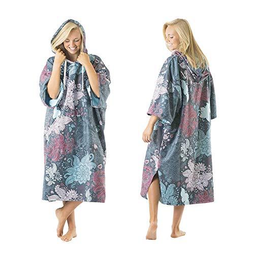 Vivida Lifestyle – Bedrucktes Kapuzen Poncho Handtuch mit Quickdry Fabric und Easy Underarm Access, Große Tasche mit Reisverschluss für den Strand, zum Surfen, Schwimmen & Triathlon (Green Leaf, S-M)