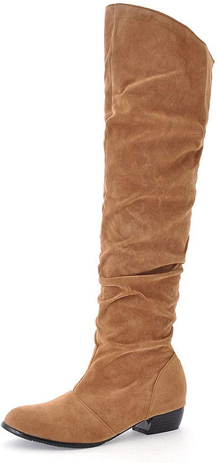 Women's High Boots, Over The Knee Boots Flat Round Head Long Tube Thick with Elastic Boots Waterproof Platform Warm shoes Thickening Knight Boots
