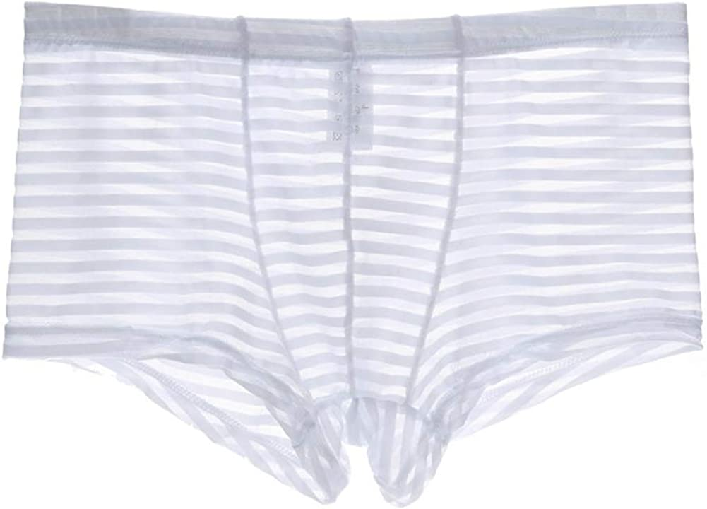 KAMUON Men's 4-Pack Sexy Low Rise See Through Mesh Boxer Br