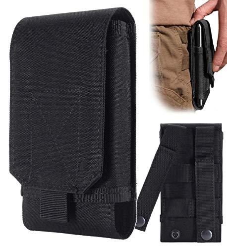 Urvoix Funda enganchar al cinturón y Llevar el teléfono móvil, diseño Militar de Camuflaje, Color Negro, tamaño L