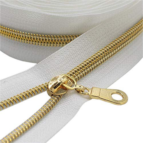 YaHoGa #5 Gold Metallic Nylon Coil Zippers by The Yard Bulk White Tape 10 Yards with 25pcs Gold Sliders for DIY Sewing Tailor Craft Bag (Gold White)