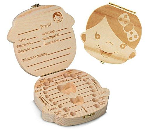 Demarkt Kinder Junge Mädchen Milch Zähne Holz Aufbewahrungs Souvenirbox Zahnkästchen Organizer für Baby Speichern Zähne Milchzähne Box Geschenk
