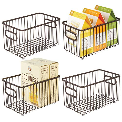 mDesign Metal Farmhouse Kitchen Pantry Food Storage Organizer Basket Bin - Wire Grid Design - for Cabinets, Cupboards, Shelves, Countertops, Closets, Bedroom, Bathroom - 10' Long, 4 Pack - Bronze