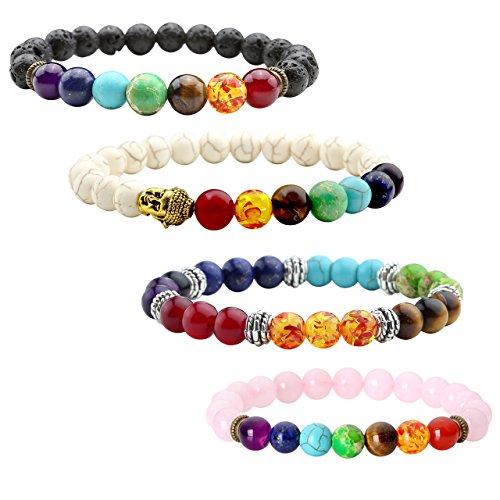 JOVIVI - 4 braccialetti in pietra lavica, terapia energetica Reiki, bracciale yoga, occhio di tigre, bianco, turchese, le pietre dei 7chakra, equilibrio spirituale, bracciale con Buddha