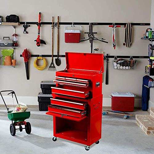 High Capacity 8-Drawer Tool Chest Tool Box, Large Rolling Tool Chest Tool Storage Cabinet with 4 Wheels, 2 in 1 Toolbox Tool Organizer With Lockable Drawer for Garage Warehouse workshop (Red Color)