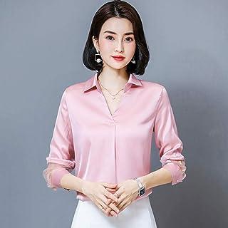 قمصان وتي شيرتات نسائية بأكمام طويلة ورقبة على شكل حرف V شيفون كاجوال OL Makfacp (اللون: وردي، المقاس: L)