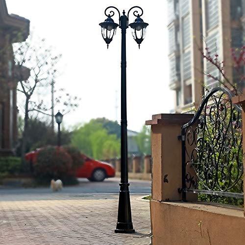 BTBAM Außen Laternenpfahl- Lichter Rasen Hohe Pole Glasstraßenlaterne aus Aluminium Regenfest Säule Laterne E27 for Hof Garten Aisle Villa Porch Gemeinschaft Rasen (Color : Schwarz, Größe : 3.15m)