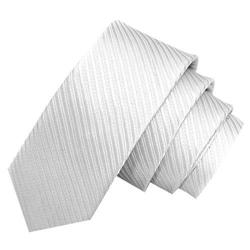 GASSANI Weisse schmale dünne 5cm Krawatte gestreift | Skinny Herrenkrawatte Weiss zum Sakko Anzug | Schlips Binder einfarbig mit Streifen