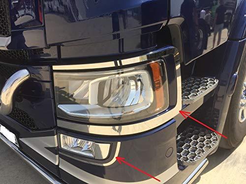 2x decoraties roestvrijstalen koplampen randen + 2x mistlampen randen voor SCANIA S/R serie 2016+ trucks