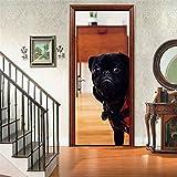 JFEDMN 3D Etiqueta De La Puerta, Pegatinas De Murales De Puerta Vinilo, Perro Animal Negro Moderno Murales Autoadhesivos Extraíbles Adhesivos De Pared Para Decoración De Hogar De Dormitorio