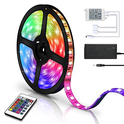 Hotmigao LED Strip 2m, RGB LED Lichterkette Streifen wasserdicht IP65 LED Lichtband mit 24 Tasten IR-Fernbedienung, LED Stripes für Zuhause, Schlafzimmer, Küche, Party, Weihnachten