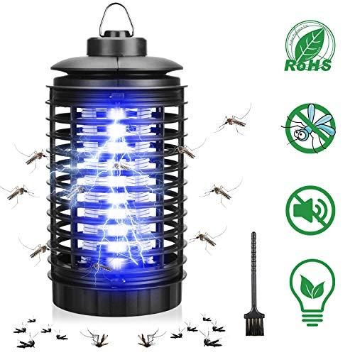Tobbiheim Insektenvernichter, UV Insektenschutz Elektrisch Mückenlampe Energiesparend 4W Steckdose mit Elektrizitätskäfig Insektenfalle Gegen Fliegende Insekten Netzkabel bis 120cm - Schwarz