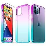 TUCCH Funda Compatible con iPhone 12/12 Pro 5G(6.1', 2020), Ultrafina Carcasa Protectora Transparente con 1 Protector de Pantalla, Funda Protección Completa para iPhone 12 Pro, Morado y Azul