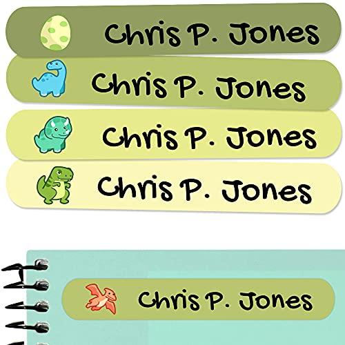 50 Etiketten um Gegenstände zu markieren, 6 x 1 cm. Aufkleber für Bücher und Schulmaterial für Kindergärten und Schulen beschriften (Dinosaurs)