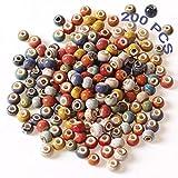 Perle Legno Perline Capelli Perline Europee Con Foro Grande 200 PCS Colorate Artigianali Perline In Legno Stampate Legno Sciolto Perline Rotonde In Ceramica Braccialetti Fai Da Te Collana Artigianato