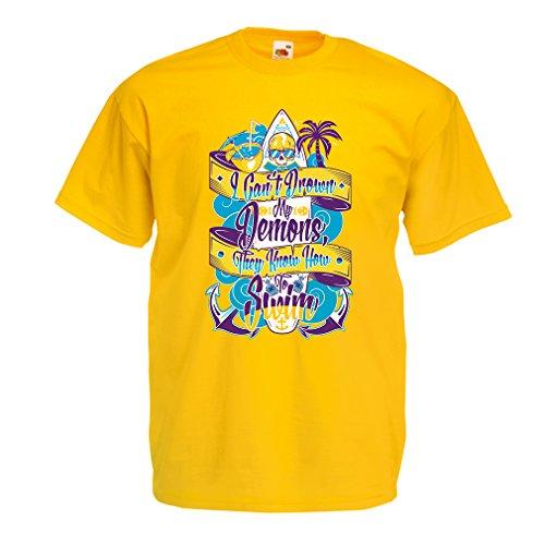 lepni.me Heren T-shirt Ik kan niet Verdrinken Mijn Demonen Ze Weten Hoe om te zwemmen - Surfer Kleding, Surfing Quotes