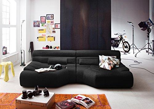 XXL Sofa Tara grote sofa woonlandschap stof zwart met kussen 292x75x148cm (B/H/D)