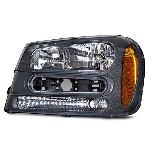 HEADLIGHTSDEPOT Black Housing Halogen Headlight Compatible With Chevrolet Trailblazer 2002-2009 LT/LS/SS Includes Left Driver Side Headlamp