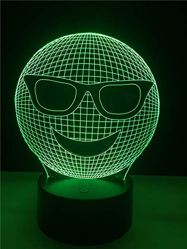 3D nachtlampje cartoon met zonnebril 7 kleuren afstandsbediening touch slaapkamer lamp hoofddecoratie, kinderkerstcadeau
