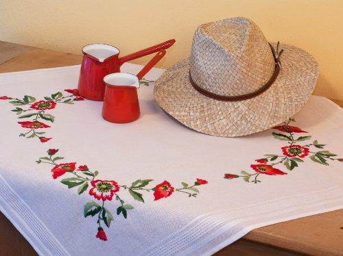 Kamaca Stickpackung Mohnblumen - ZAUBER Stielstich Spannstich vorgezeichnet aus 100% Baumwolle Mitteldecke 80 x 80 zum Selbersticken