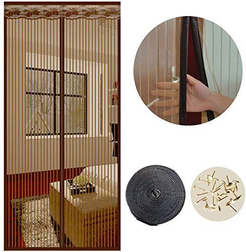 Hyishion Magnetische horren voor deuren, 90 x 210 cm, het magneetgordijn is ideaal voor balkondeur, kelderdeur en terrasdeur, eenvoudige montage zonder boren, bruin, 90 x 210 cm
