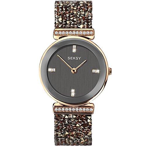 Seksy Rocks Womens 2656 Rose Gold Plated Crystal Wrist Watch