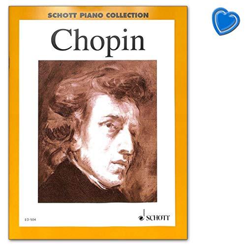 Chopin - Libro de partituras para piano de 2 a 38 piezas en 2 bandas, dificultad media-pesada, con pinza en forma de corazón
