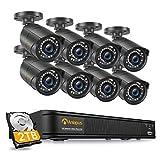 Anlapus H.265+ 1080P PoE Kit de Caméra Surveillance 2.0MP Extérieure IP67 avec 2TB NVR...