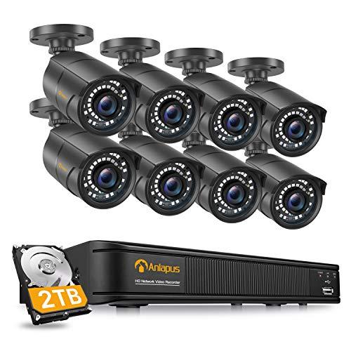 Anlapus 1080P Kit de Cámaras Seguridad PoE 8CH H.265+ Videograbador con 2TB Disco Duro 8 Cámaras de Vigilancia Exterior, 30M Visión Nocturna, App Gratis