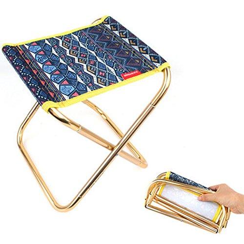 Chaise Pliante Extérieure Folk-Custom Style - Espace Aluminium Camping Chaise Respirante Pêche Portable Train Camping Mazar Barbecue Pliant Tabouret,Blue
