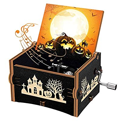 Halloween Wood Music Box, The Nightmare Before Christmas Hand Crank Engraved Wooden Music Box Gifts for Kids/Girlfriend/Women/Daughter, Plays This is Halloween Melody