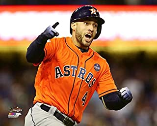 The Houston Astros George Springer, 2017 World Series MVP. Game 7 Home Run. 2017 World Series 8x10 Photograph Picture.spring)