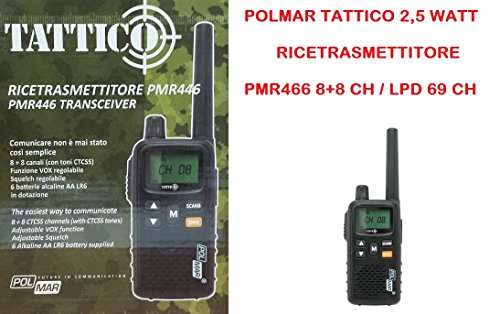 Polmar Tattico 2,5 W Ricetrasmettitore PMR446 8+8 CH / LPD 69 CH
