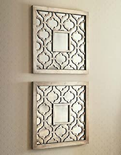 Silver SQUARE FRETWORK Wood Mirror Wall Art PAIR