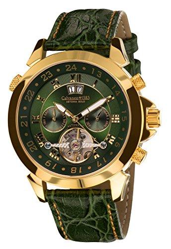 Calvaneo 1583 Herren-Armbanduhr Astonia Luxury Britannic GOLD Analog Automatik Leder grün 107923