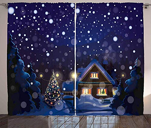 zpangg Cortinas navideñas Noche de Invierno Paisaje campestre con casita Entre pinos y Nieve Sala de Estar Dormitorio Cortinas de Ventana