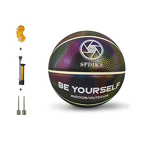 ASDFA Baloncesto holográfico que brilla intensamente reflexivo Baloncesto luminoso NO.7 para los deportes nocturnos regalos de los niños